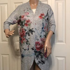 GINGER G SMALL GRAY W/PINK FLOWERS CARDIGAN
